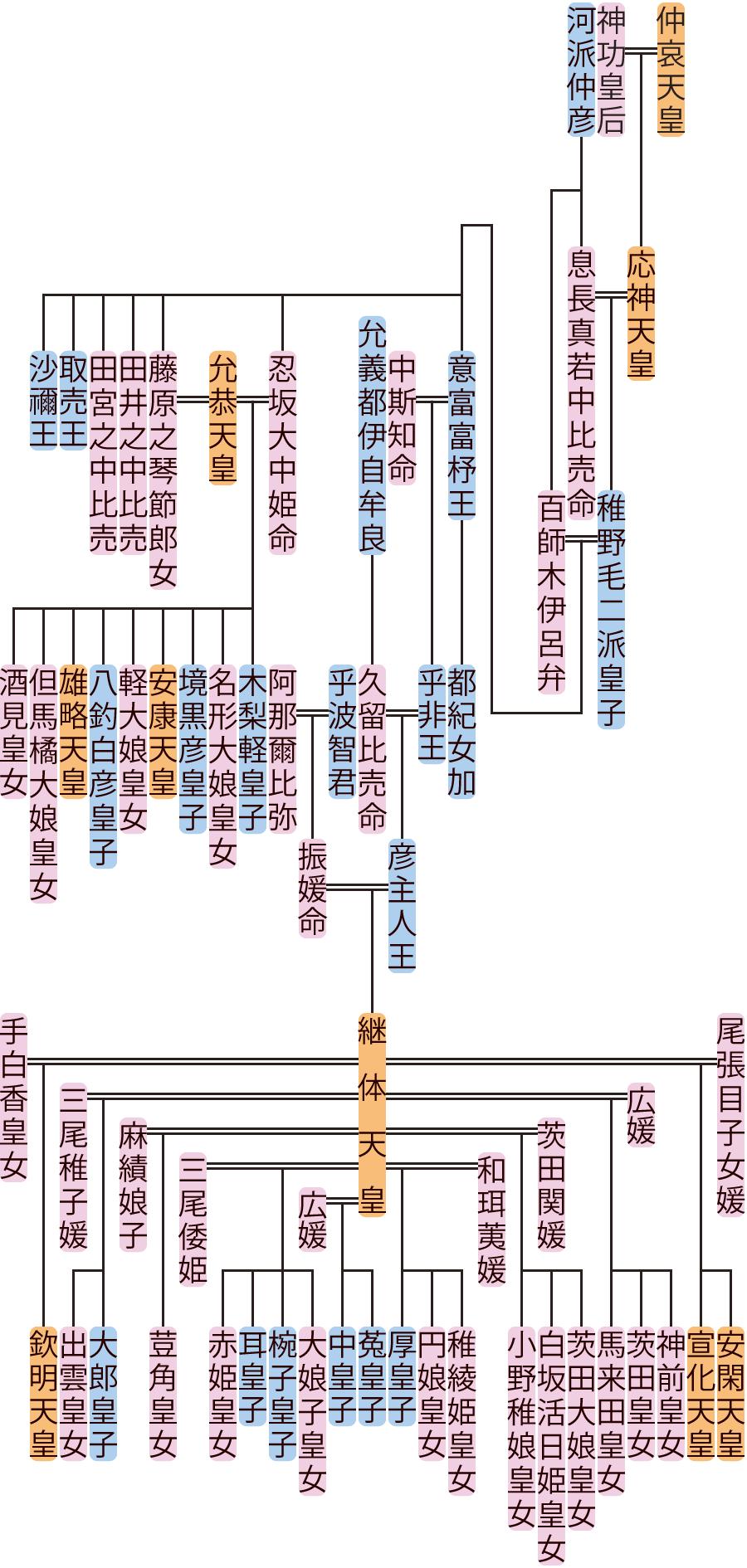 稚野毛二派皇子~彦主人王の系図