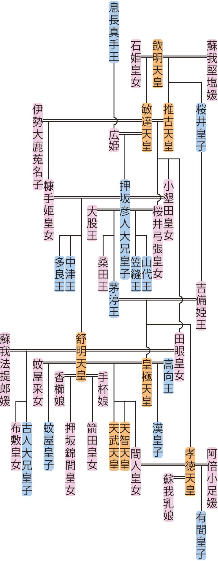 押坂彦人大兄皇子・茅渟王の系図
