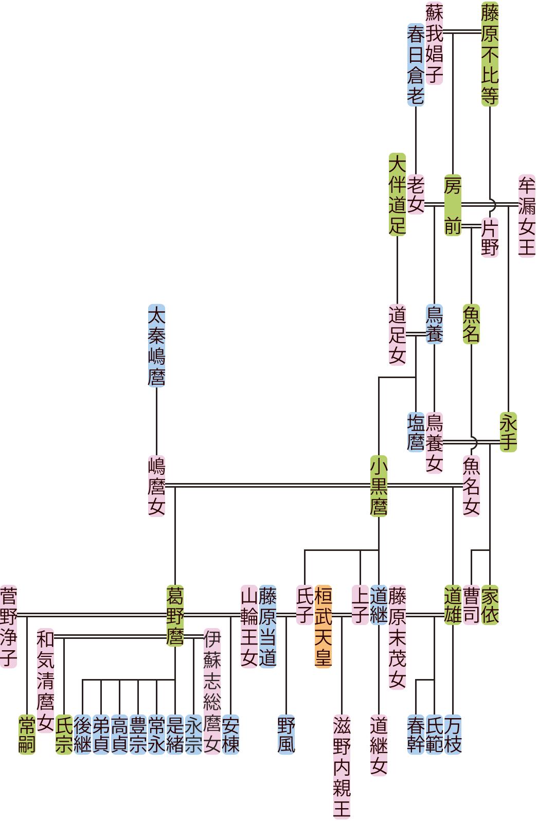 藤原鳥養・小黒麿の系図