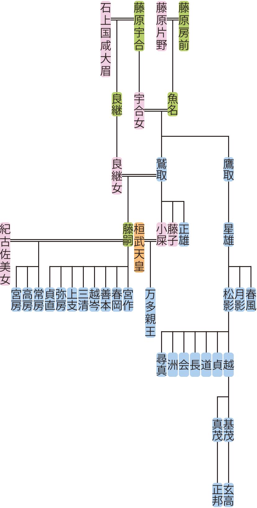 藤原鷲取・鷹取の系図