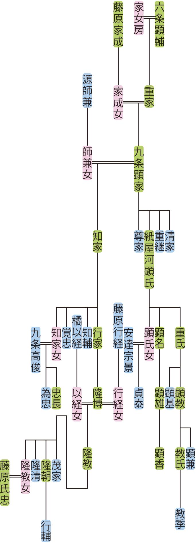 九条顕家の系図