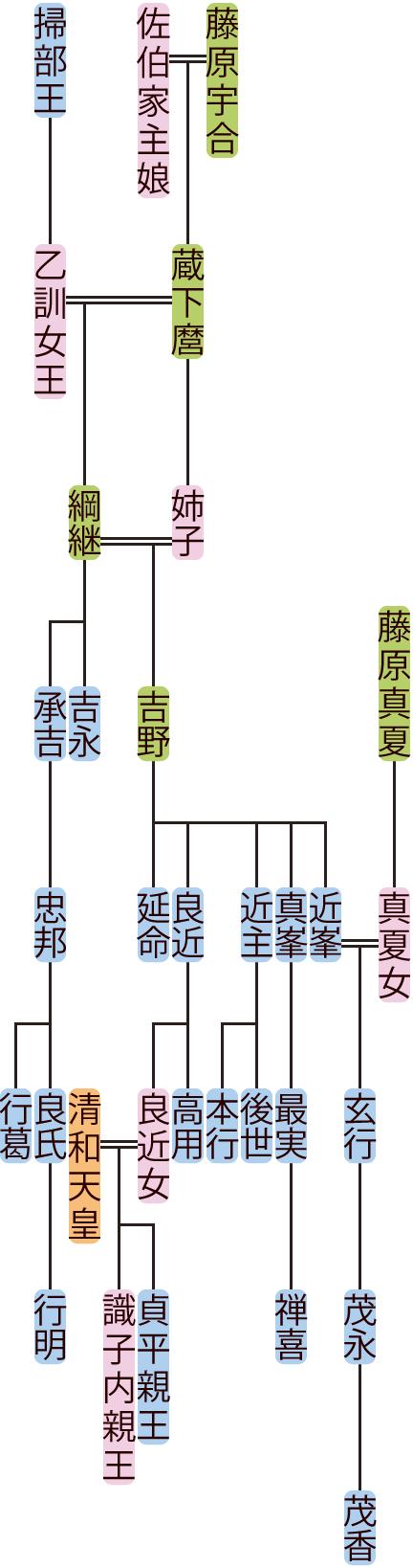 藤原綱継・吉野の系図