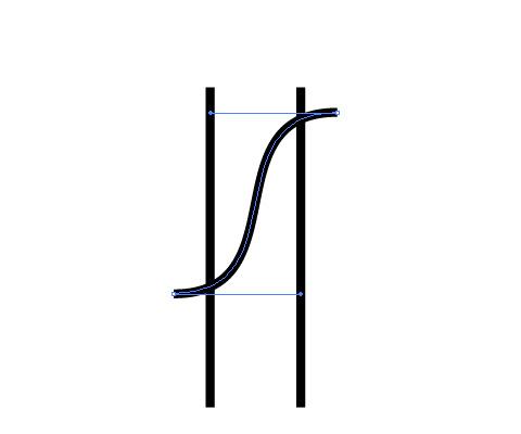 S字状のパスを描く