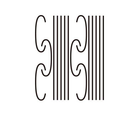 直線とC字形のパスを並べる