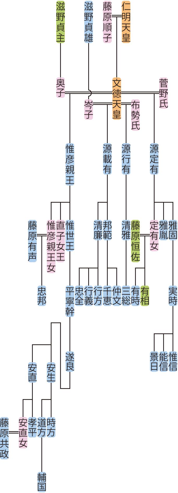惟彦親王・源定有・行有・載有の系図