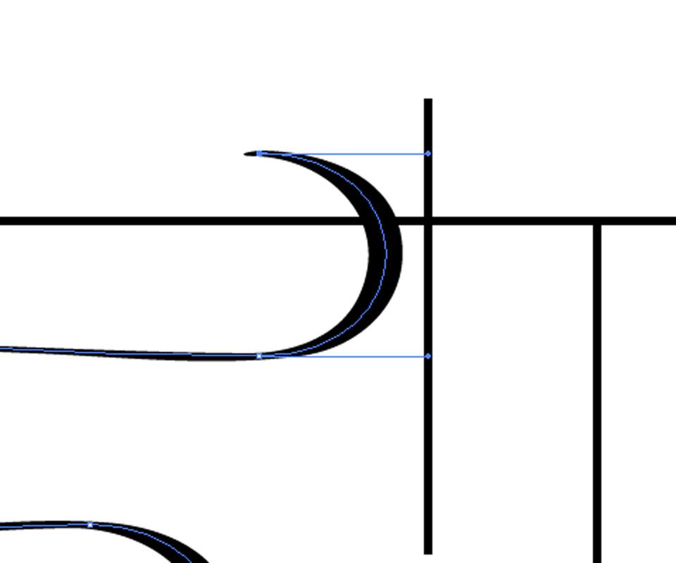 アンカーポイントの位置とハンドルを調整する