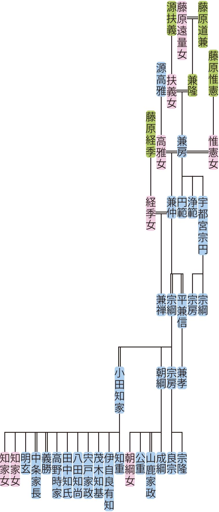藤原兼房~宗綱の系図