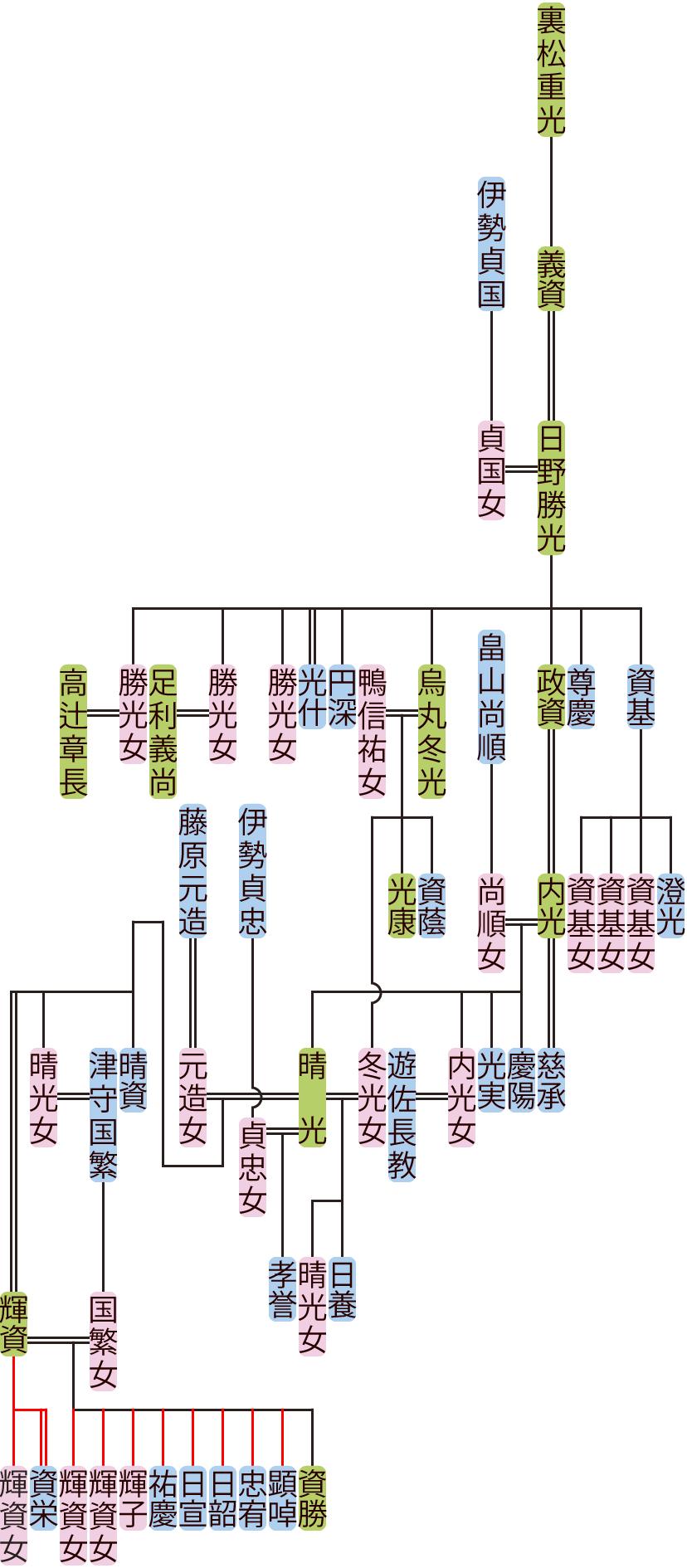 日野勝光~晴光の系図