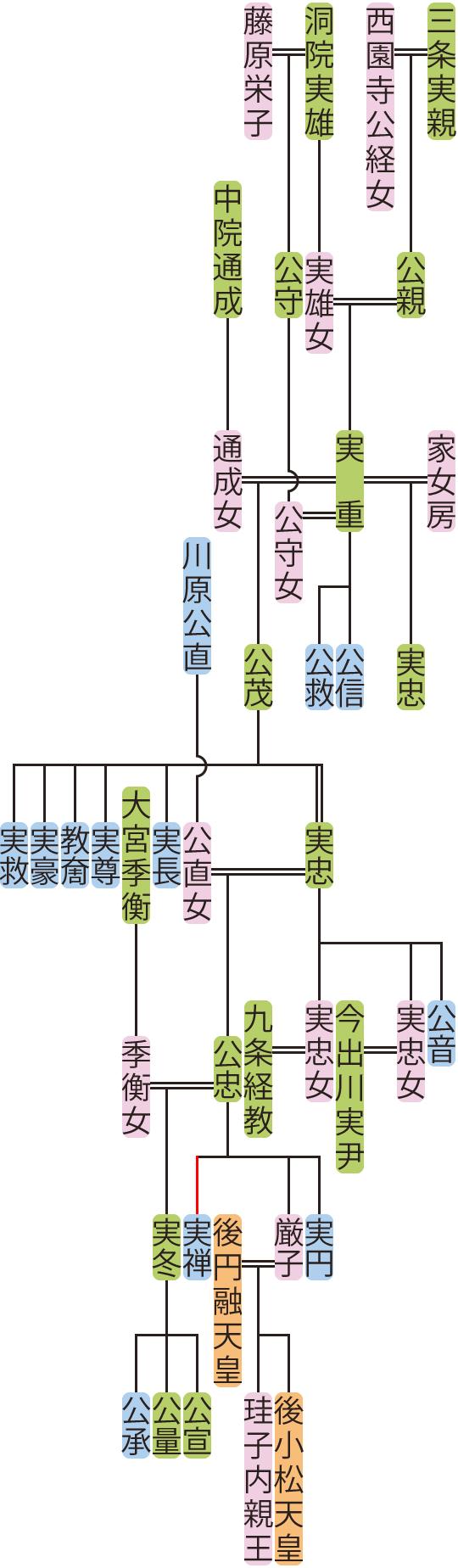 三条実重~公忠の系図