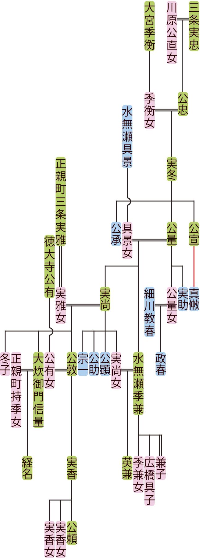 三条実冬~公敦の系図