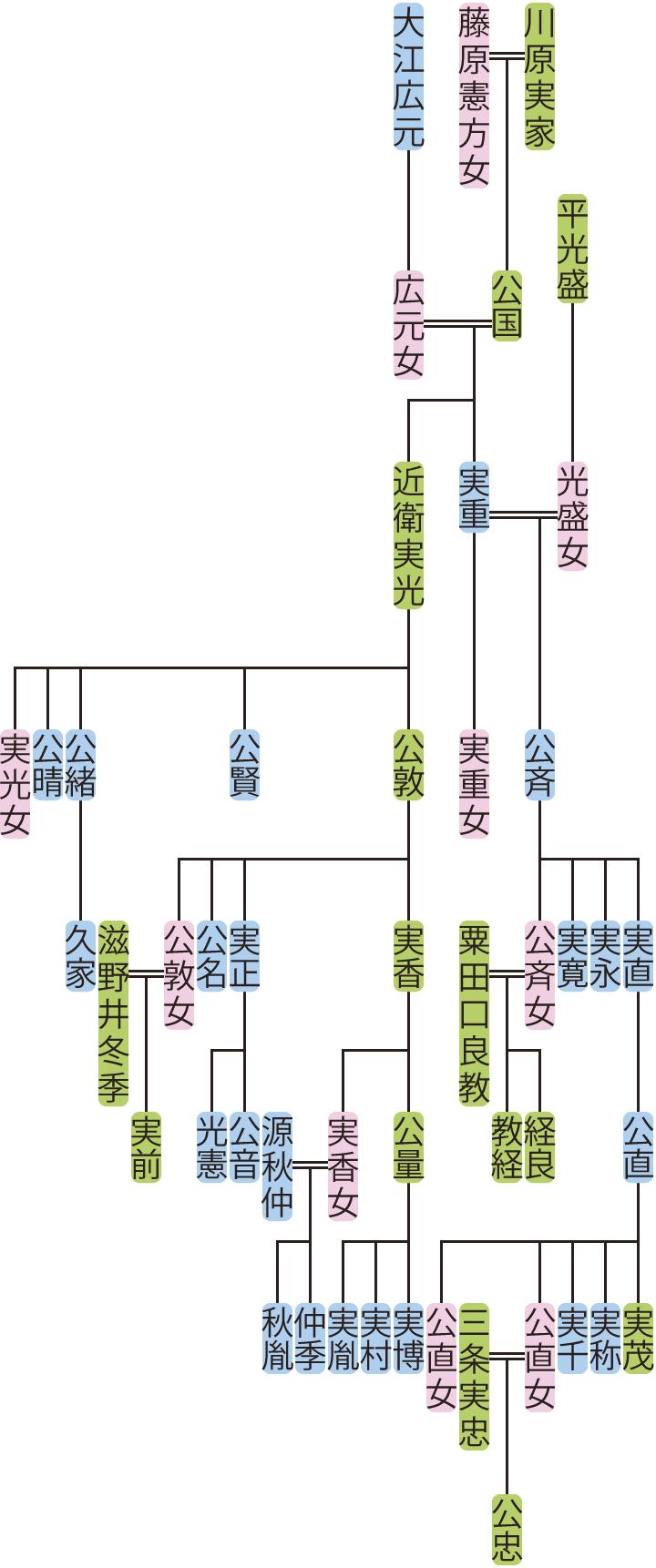 川原実重・近衛実光の系図