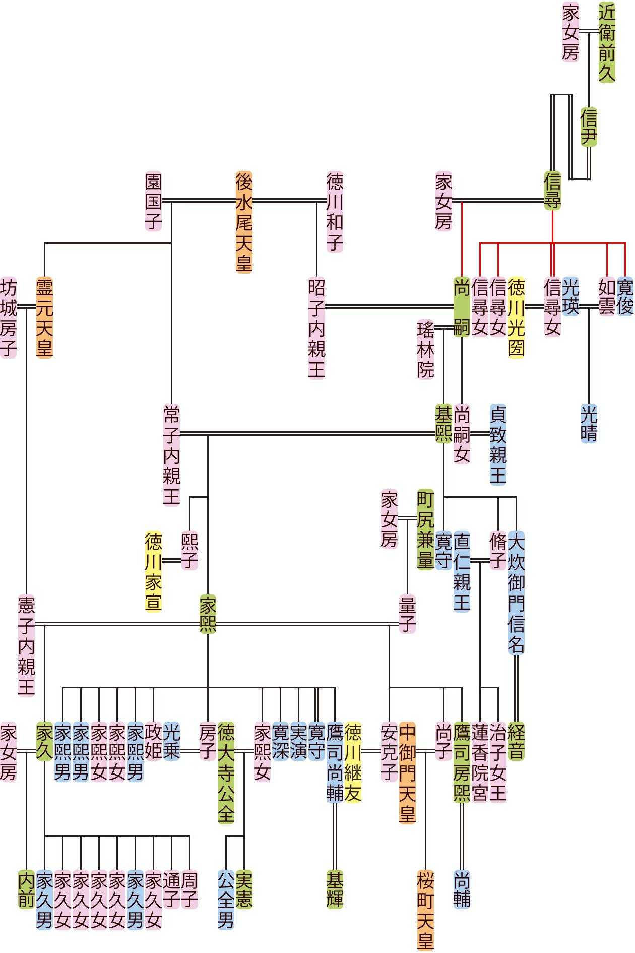 近衛信尋~家煕の系図