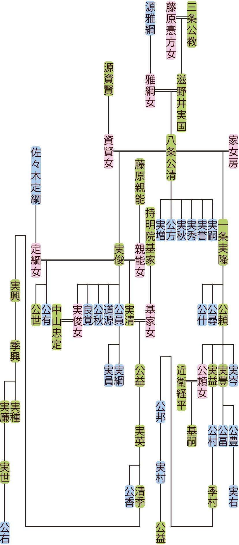 八条公清~一条公邦の系図