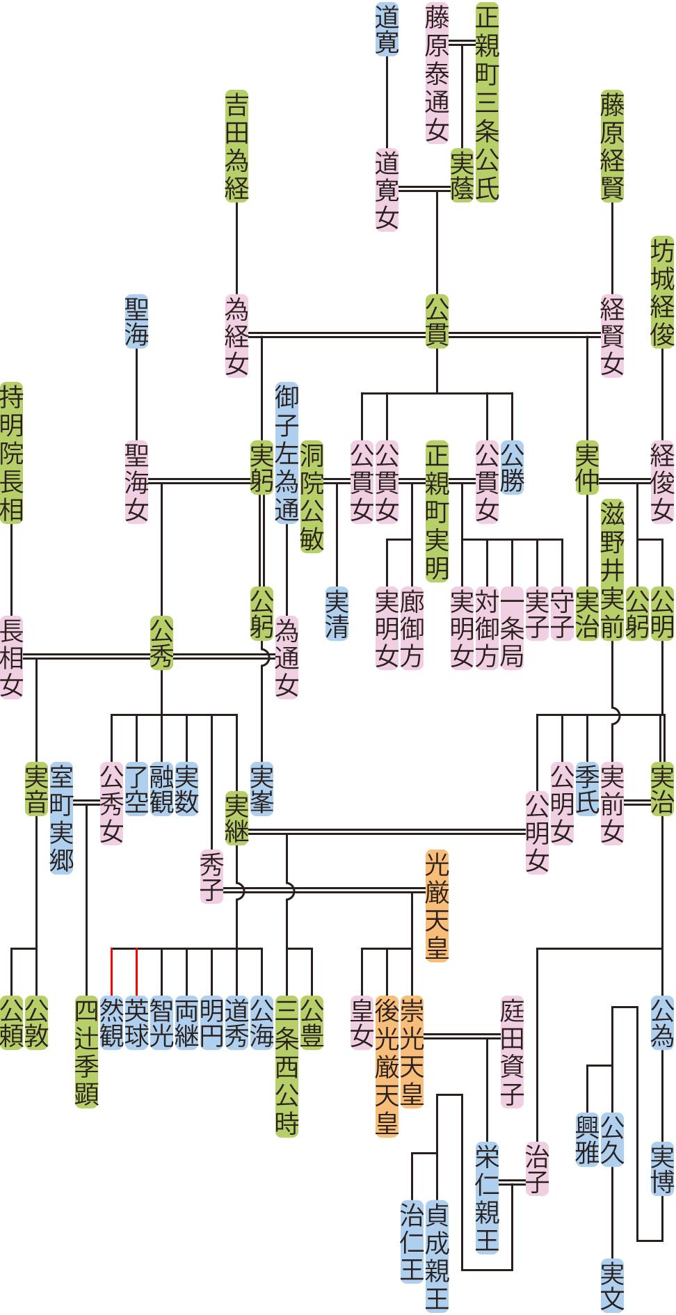 正親町三条公貫~公秀の系図