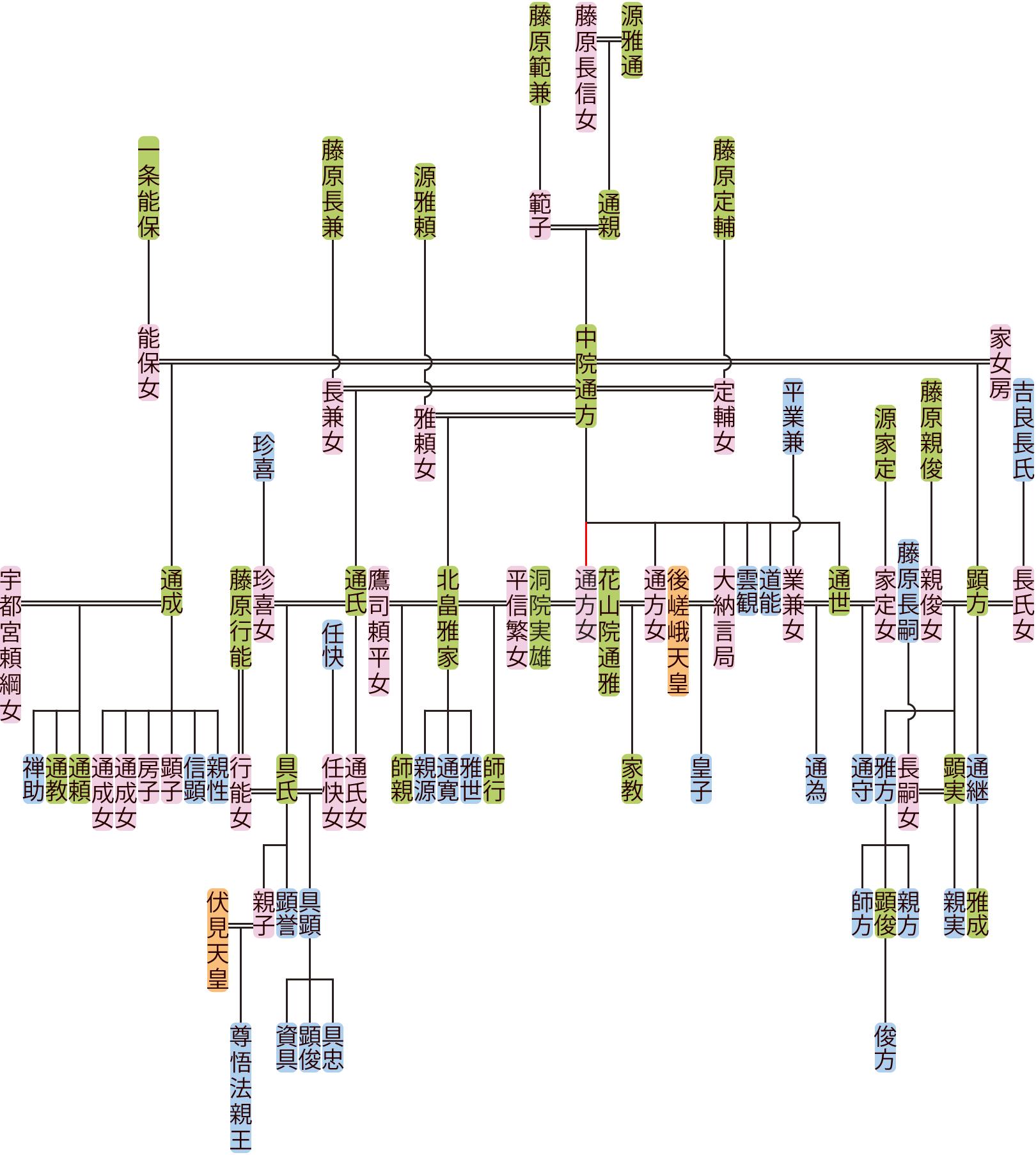 中院通方の系図