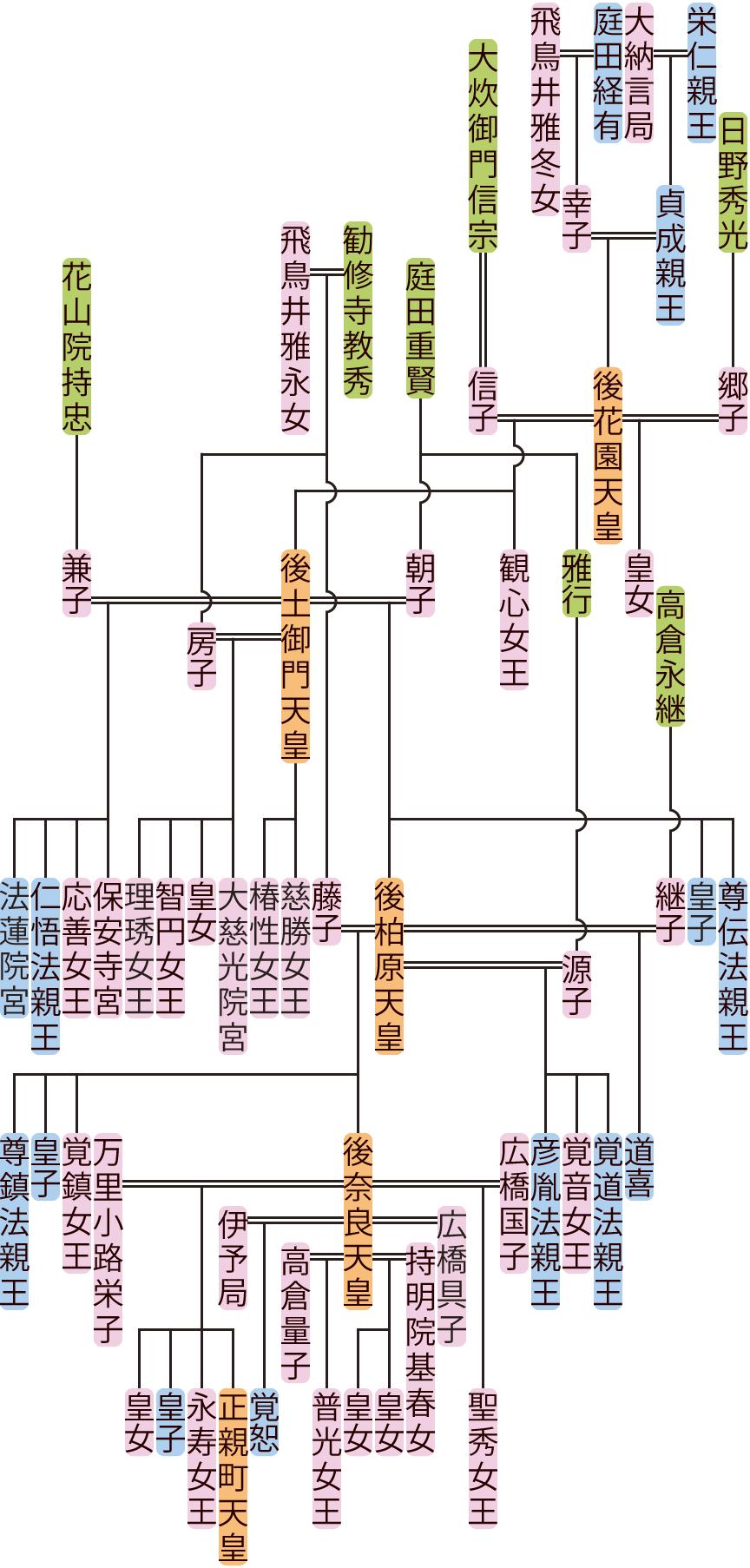 後花園天皇~後柏原天皇の系図