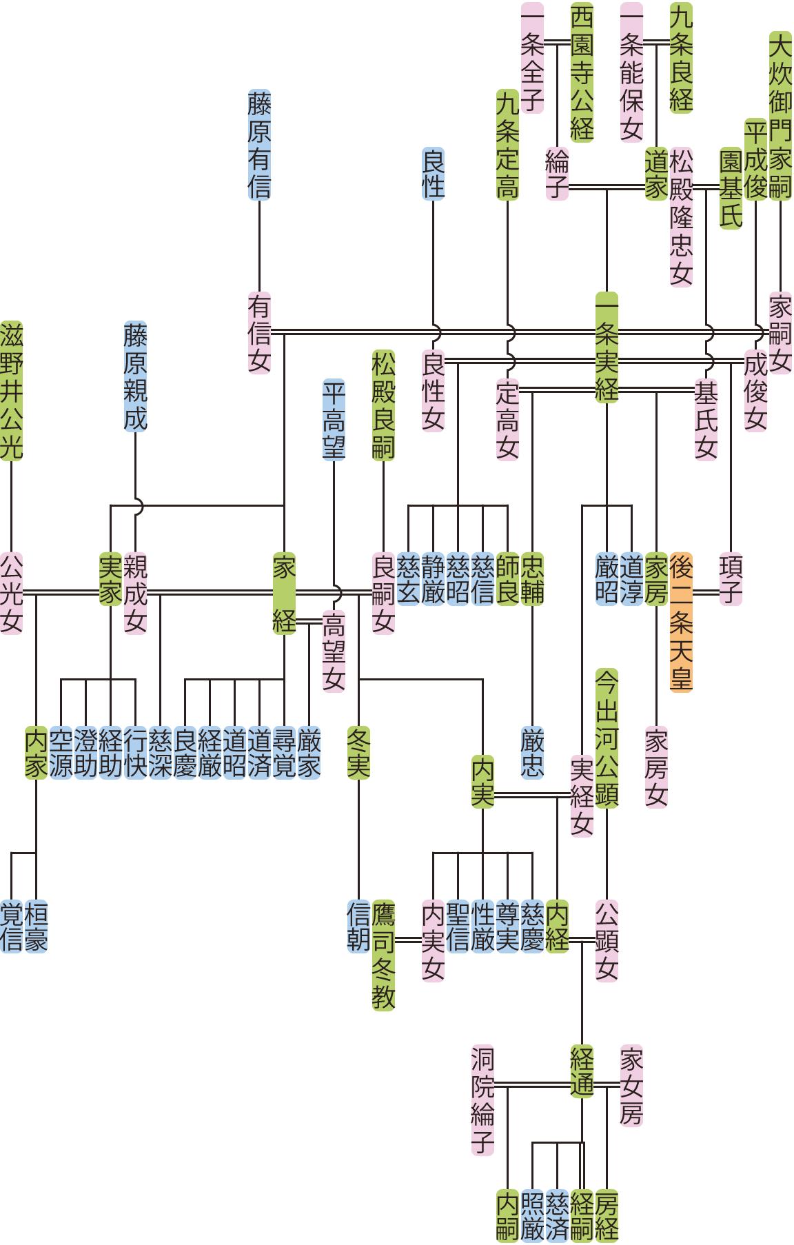 一条実経~内経の系図