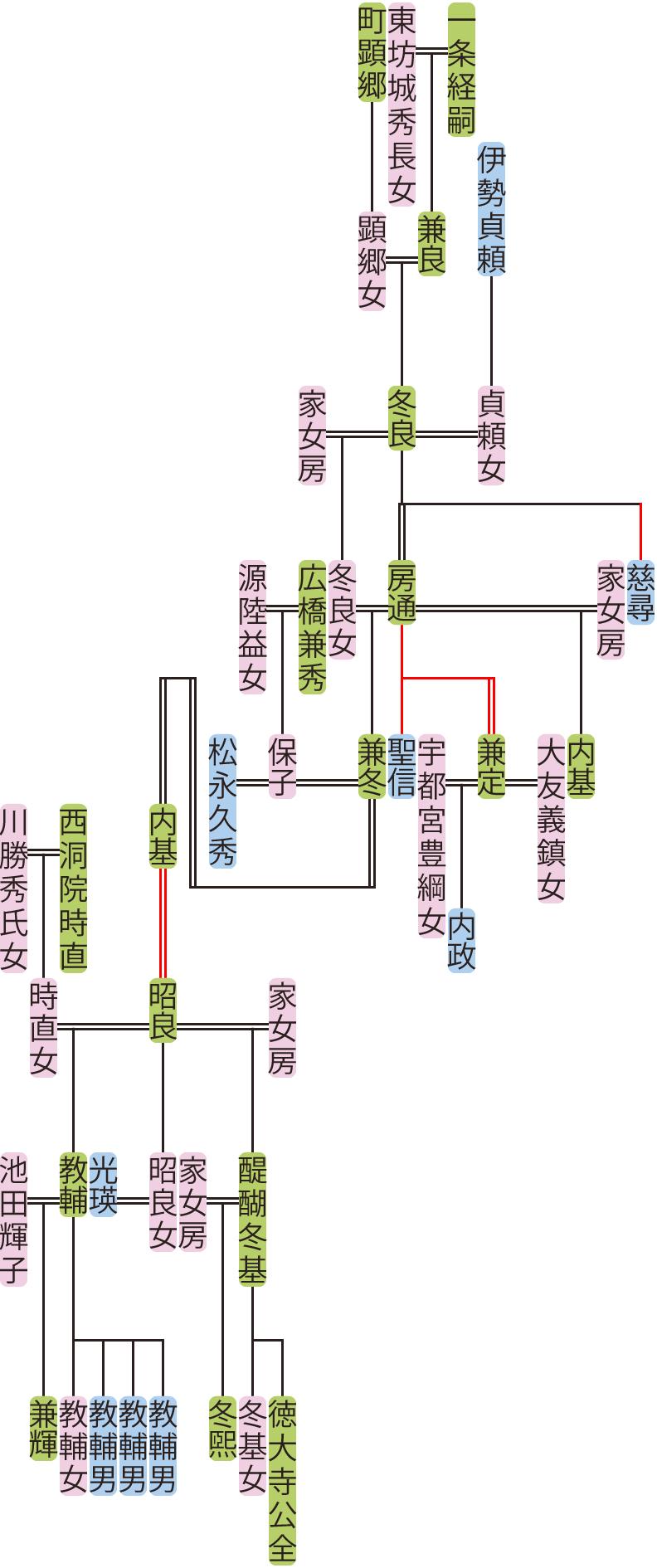 一条冬良~昭良の系図