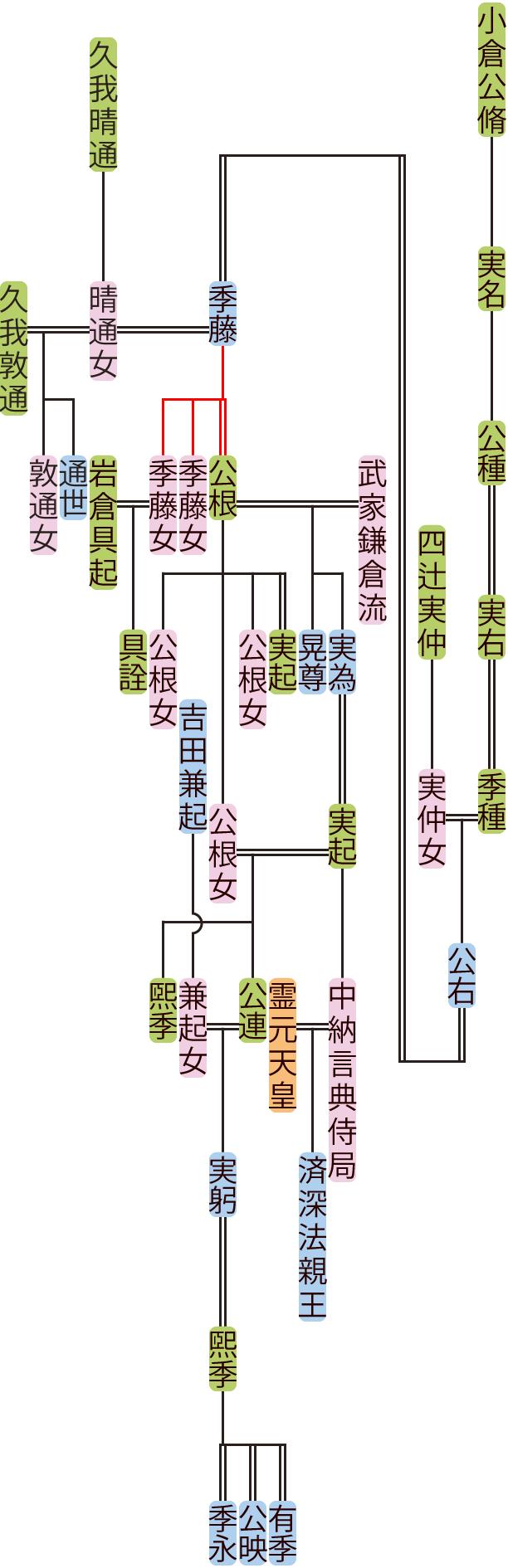 小倉公種~実躬の系図