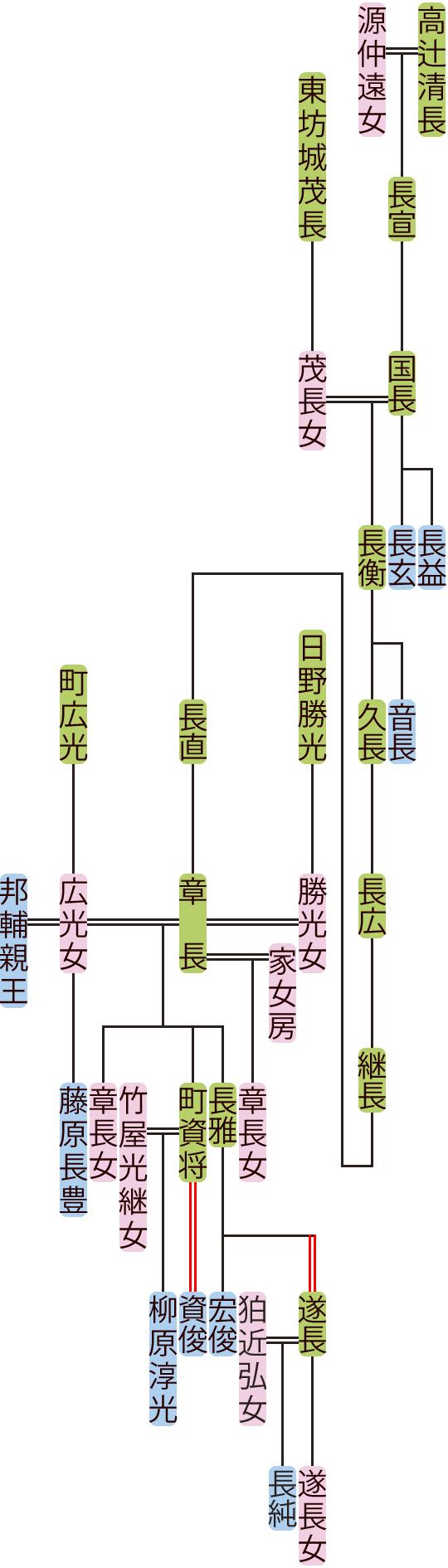 高辻国長~長雅の系図