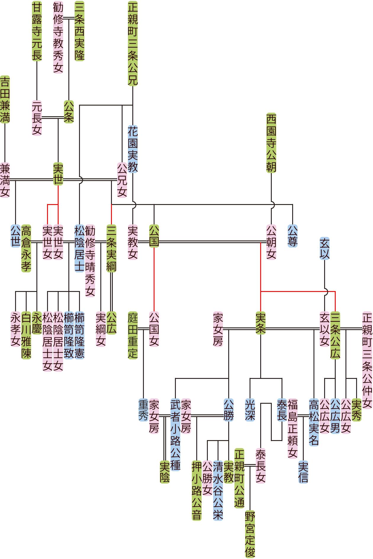 三条西実世~実条の系図