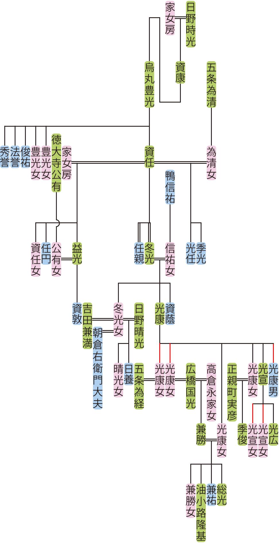 烏丸豊光~光康の系図