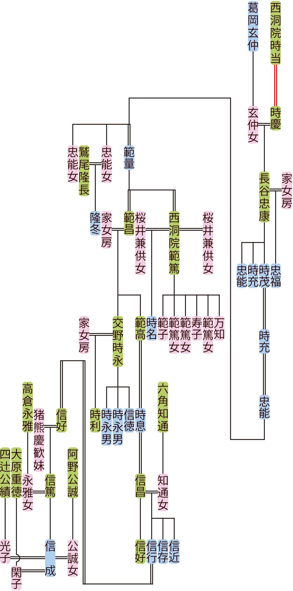 長谷忠康~信成の系図