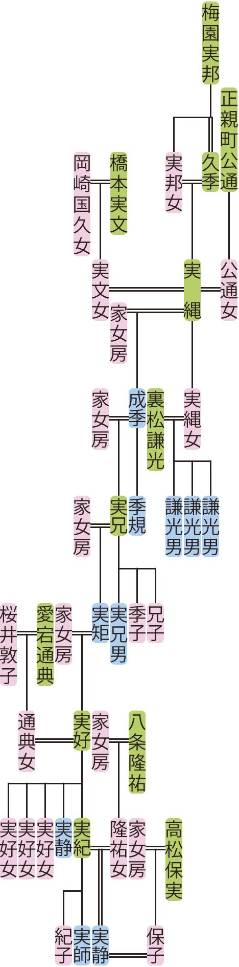 梅園実縄~実静の系図