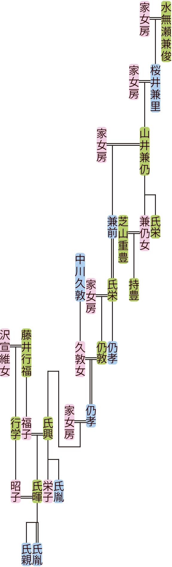山井兼仍~氏胤の系図